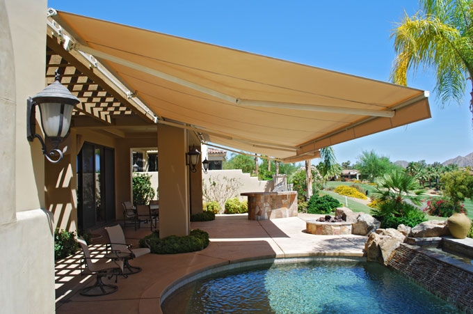 Retractable Awning Patio Cover Folding Arm 3.5m x 2.5m ...