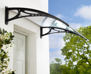 ... The Byron Window And Door Canopy   Black Brackets   Clear Cover 1200mm