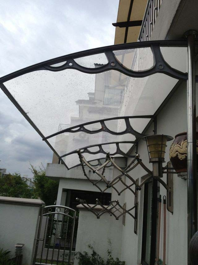 The Hamilton Outdoor Window Awning Patio Cover 3000 X1500mm Grey Brackets  Clear Sunsheet Cover