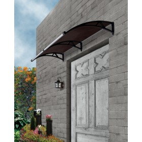 The Hawthorn Outdoor Window Awning Cover 2m X 1m With Gutter Tinted Black Brackets