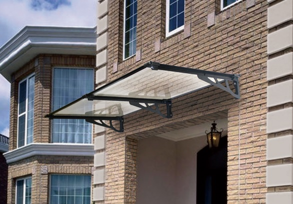 ... The Stradbroke 2400mm Window Awnings - Silver Brackets - Tinted Cover & The Stradbroke Door Canopy 2400x800mm Silver Metal Brackets Tinted ...