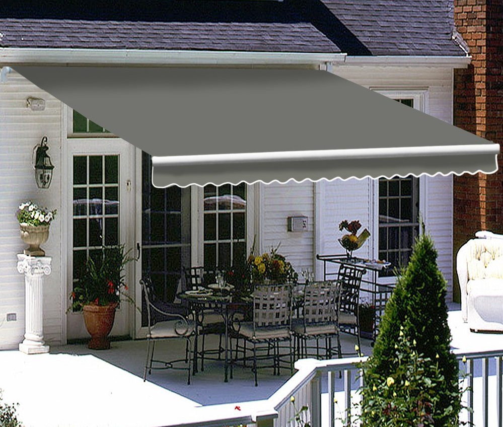 Retractable Awning Patio Cover Folding Arm Grey 5.0m x 2 ...